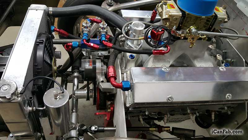 New 427 SBC gets installed in the Vega Hatchback drag car